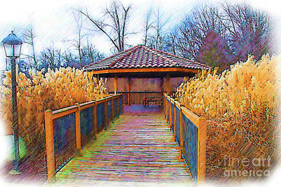 Digital Art - The Pavilion By The River Sketched by Kirt Tisdale