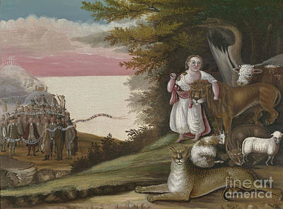 Pow Wow Painting - The Peaceable Kingdom, 1829-30 by Edward Hicks