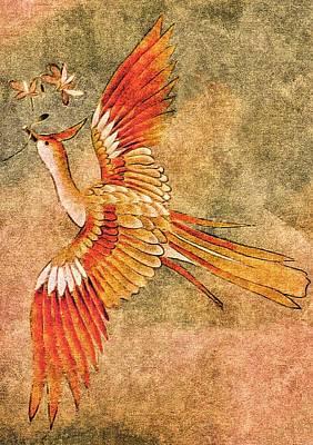 The Peahen's Gift - Kimono Series Art Print