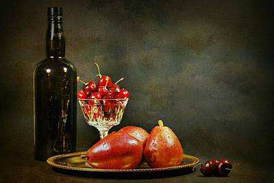 Table Wine Photograph - The Pear Tray by Diana Angstadt