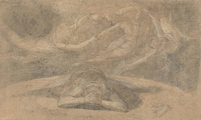 Swiss Drawing - The Peasant's Dream Paradise Lost Book 1 by Henry Fuseli