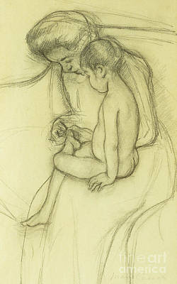Caring Mother Drawing - The Pedicure by Mary Stevenson Cassatt