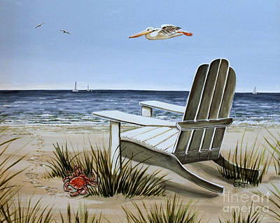 Beach Scene Painting - The Pelican by Elizabeth Robinette Tyndall