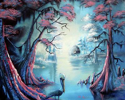 Cypress Swamp Painting - The Pelican's Swamp by Nicolas Avet