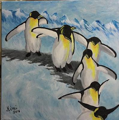 Painting - The Penguins Convey by Mimi Eskenazi