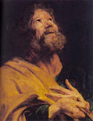 Digital Art - The Penitent Apostle Peter  by Sir Antony van Dyck