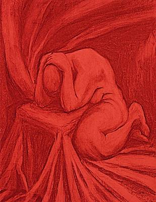 Male Nude Drawing Digital Art - The Penitent by Chris  Riley
