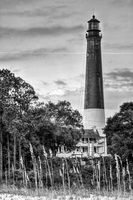 The Pensacola Lighthouse Black And White Art Print