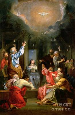 Doves Painting - The Pentecost by Louis Galloche