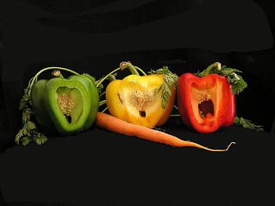The Pepper Trio Art Print by Carol Milisen