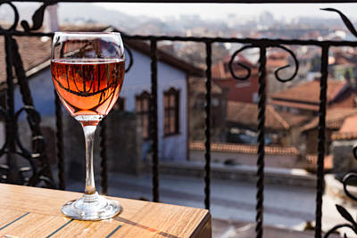 Georgia Red Clay Photograph - The Perfect Cocktail Hour Spot - A Glass Of Wine With A Phenomenal View by Georgia Mizuleva