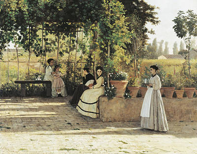 Fan Art Painting - The Pergola by Silvestro Lega