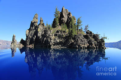 Mount Mazama Photograph - The Phantom Ship Reflected by John R. Foster