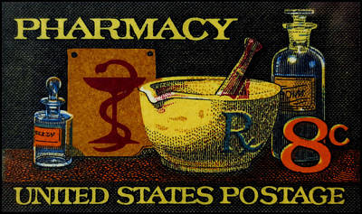 Pharmacy Painting - The Pharmacy Stamp by Lanjee Chee