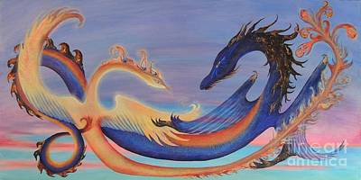 The Pheonix And The Dragon Print by Chloe Ulis