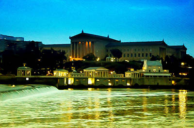 The Philadelphia Art Museum And Waterworks At Night Art Print by Bill Cannon