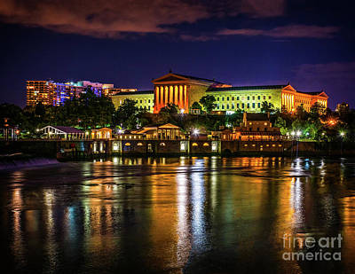 On Trend At The Pool - The Philadelphia Art Museum at Night by Nick Zelinsky Jr