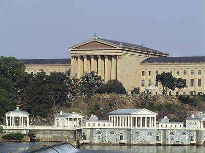 The Philly Art Museum And Waterworks Art Print by Bill Cannon