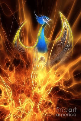 Flaming Digital Art - The Phoenix Rises From The Ashes by John Edwards