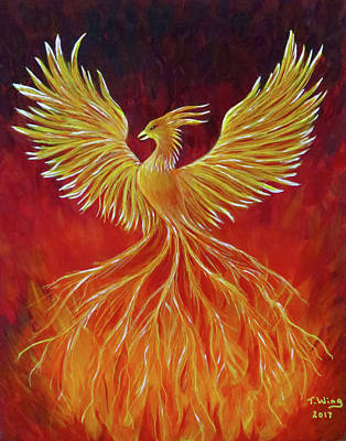 Art Print featuring the painting The Phoenix by Teresa Wing