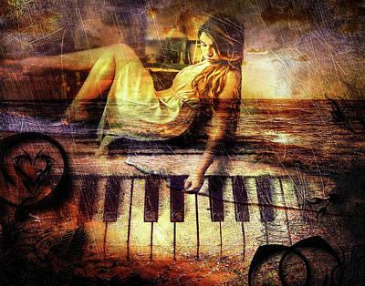 Digital Art - The Piano Girl by Michael Damiani