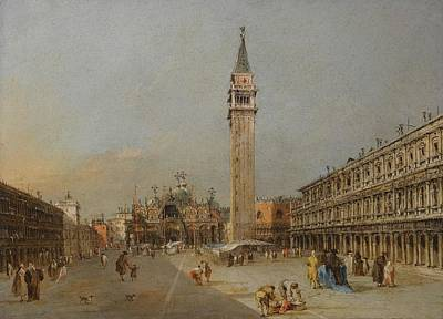 Francesco Guardi Painting - The Piazza San Marco With The Basilica And Campanile by Francesco Guardi