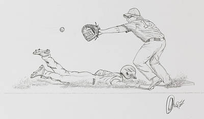 Drawing - The Pick Off  by Chris Thomas