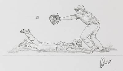 Baseball Drawings - The Pick Off  by Chris Thomas