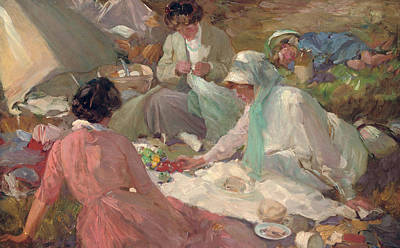 Shawl Painting - The Picnic by Cyrus Cuneo