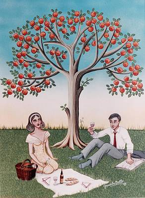 Man And Woman Mixed Media - The Picnic by Graciela Bello
