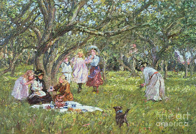 Child Swinging Painting - The Picnic by James Charles