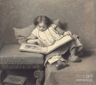 Signed Drawing - The Picture Book by Eastman Johnson
