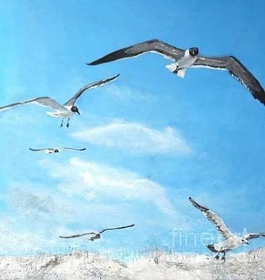 the picture sea gulls sea landscape freedom flying with Jonathan Livingstone Original by Natalia Stepanova