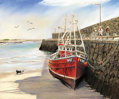 Burren Painting - The Pier At Spiddal Galway Ireland by Irish Art