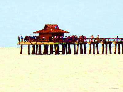 The Pier - Beach Pier Art Art Print by Sharon Cummings