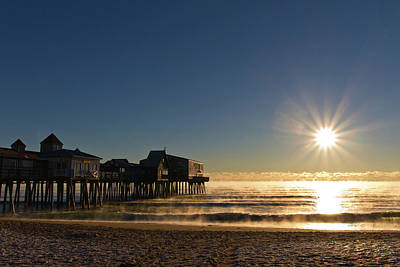 Photograph - The Pier In Sea Smoke by Ed Fletcher