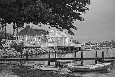 Photograph - The Pier On Bridge Street Black And White by HH Photography of Florida