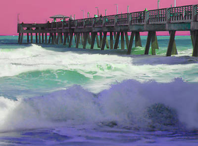 Waves Mixed Media - The Pier by Steven Peters