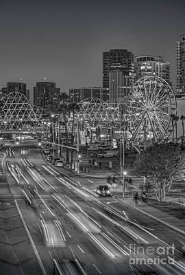 Photograph - The Pike Long Beach Bw Vertical by David Zanzinger