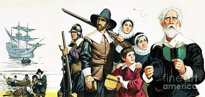 The Pilgrim Fathers Arrive In America Art Print by Angus McBride