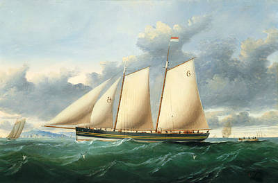 Harbor Painting - The Pilot Schooner Pioneer Off Point Lynas by Charles Ogilvy