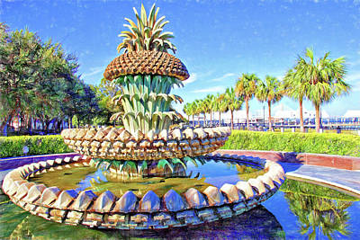 Photograph - The Pineapple Fountain In Waterfront Park by Alice Gipson
