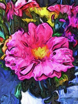 Digital Art - The Pink And Yellow Flower In The Vase by Jackie VanO