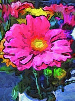 Digital Art - The Pink And Yellow Flower by Jackie VanO