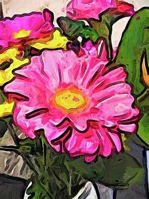 The Pink And Yellow Flowers With The Big Green Leaves Art Print