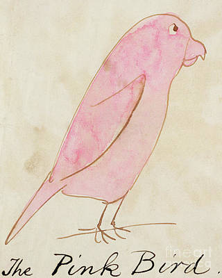 Cute Cartoon Painting - The Pink Bird by Edward Lear