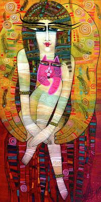 The Pink Cat Angel Art Print