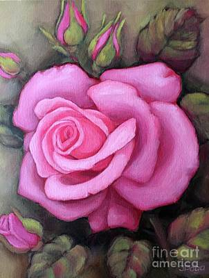 Painting - The Pink Dream Rose by Inese Poga