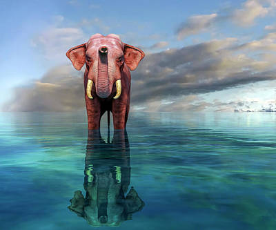 Recently Sold - Animals Digital Art - The Pink Elephant by Betsy Knapp