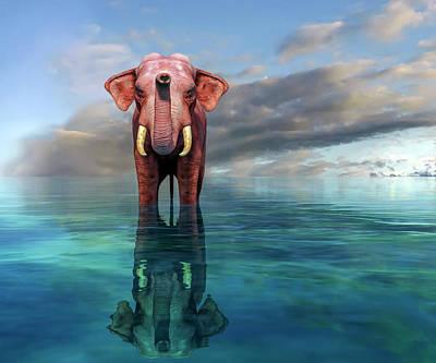 Coastal Landscape Digital Art - The Pink Elephant by Betsy Knapp